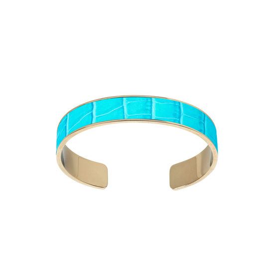 Cleopatra Skinny Cuff Bracelet in Deep Shine Aqua Small Croc from Aspinal of London