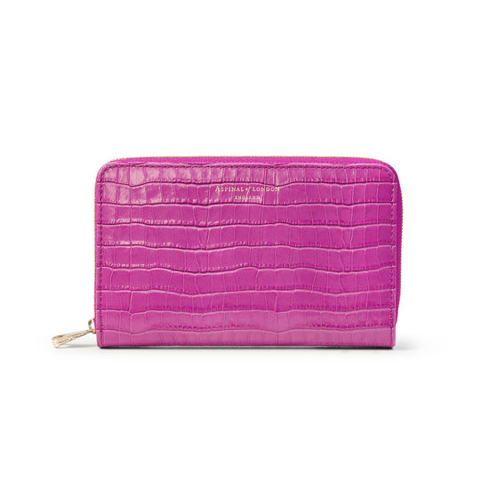 Midi Continental Purse in Deep Shine Hibiscus Small Croc from Aspinal of London