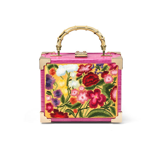 The Trunk in Embroidered Wildflowers & Hibiscus Small Croc from Aspinal of London