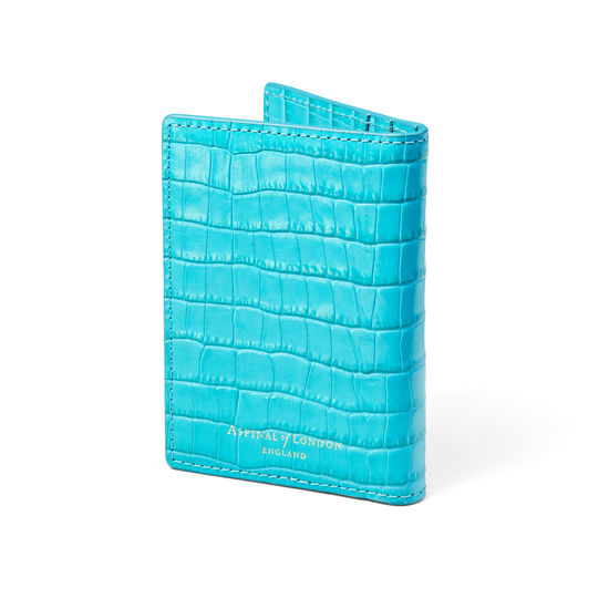 Double Fold Credit Card Holder in Deep Shine Aqua Small Croc from Aspinal of London