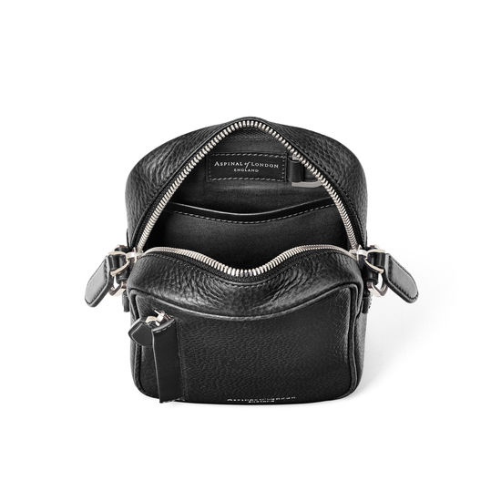 Reporter North South Bag in Black Pebble from Aspinal of London