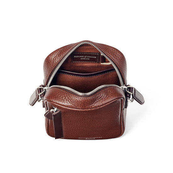 Reporter North South Bag in Tobacco Pebble from Aspinal of London