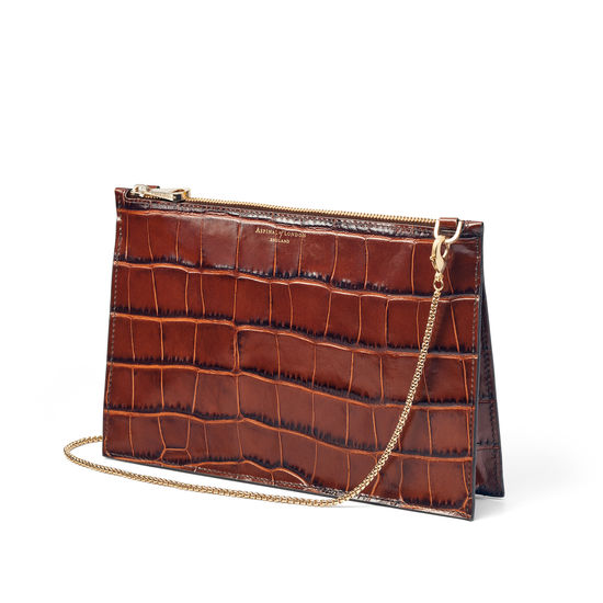 Soho Bag in Deep Shine Brown Soft Croc from Aspinal of London