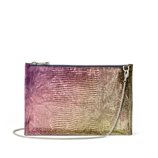 Soho Bag in Iridescent Silk Lizard from Aspinal of London
