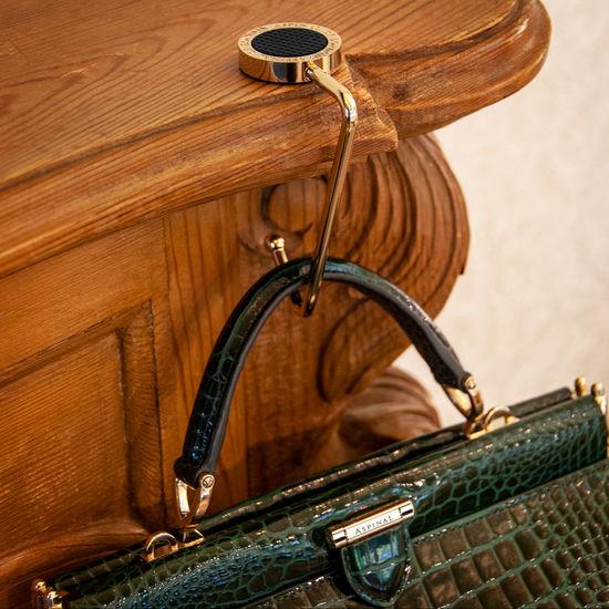 Aspinal Handbag Hook in Black Patent Leather & Black SWAROVSKI ELEMENTS from Aspinal of London