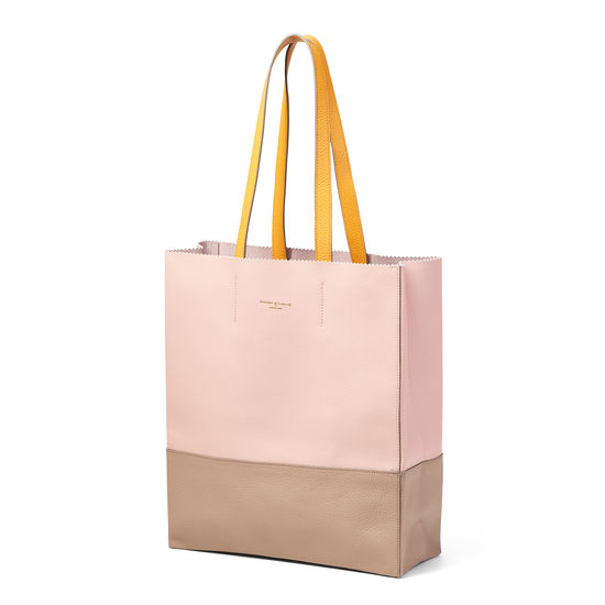 Origami Tote in Pink, Soft Taupe & Mandarin Pebble from Aspinal of London