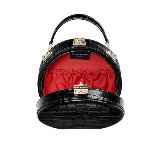 Hat Box in Deep Shine Black Croc with Narrow Strap from Aspinal of London