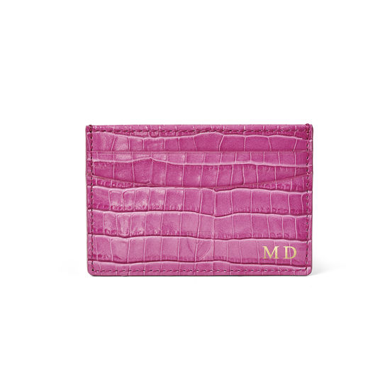 Slim Credit Card Holder in Deep Shine Hibiscus Small Croc from Aspinal of London