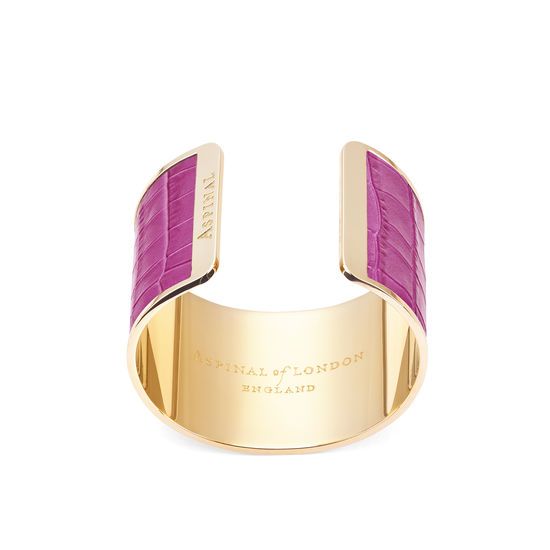 Cleopatra Cuff Bracelet in Deep Shine Hibiscus Small Croc from Aspinal of London
