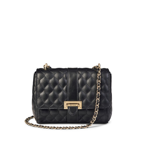 Lottie Bag with Top Handle in Black Quilted Kaviar from Aspinal of London