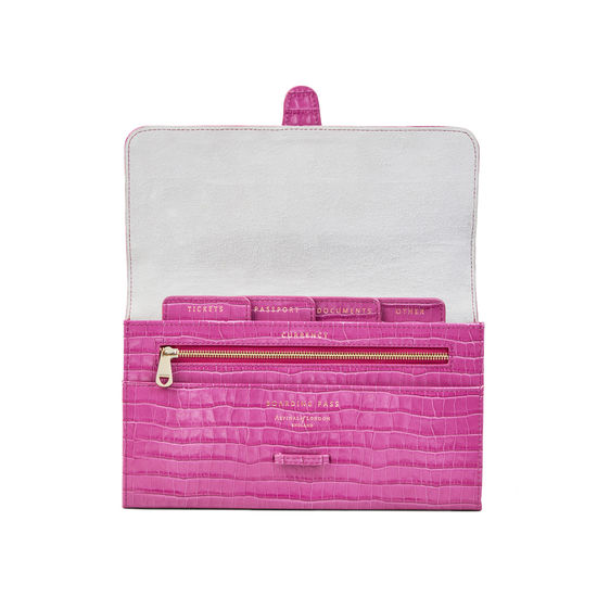 Travel Wallet with Removable Inserts in Deep Shine Hibiscus Small Croc from Aspinal of London