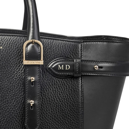 Midi Marylebone Tote in Black Pebble from Aspinal of London
