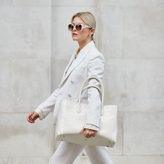 London Tote in Deep Shine Ivory Soft Croc from Aspinal of London