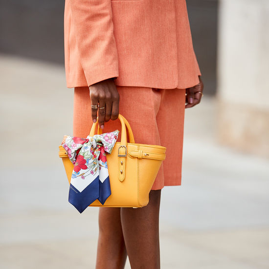 Mini Marylebone Tote in Mandarin Pebble from Aspinal of London