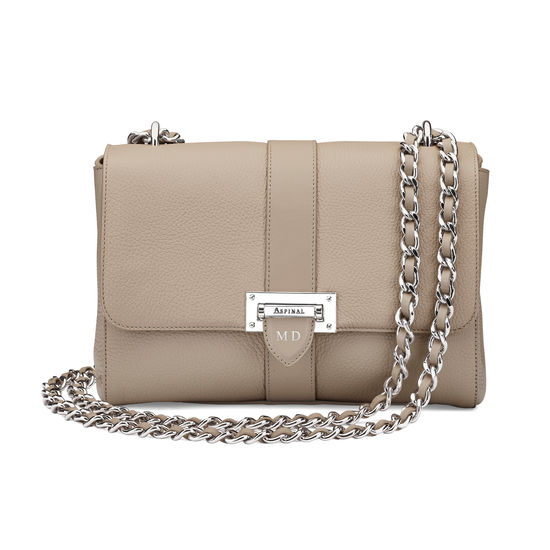 Large Lottie Bag in Soft Taupe Pebble from Aspinal of London