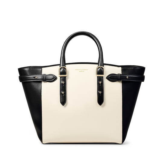 Midi Marylebone Tote in Ivory Saffiano & Smooth Black from Aspinal of London