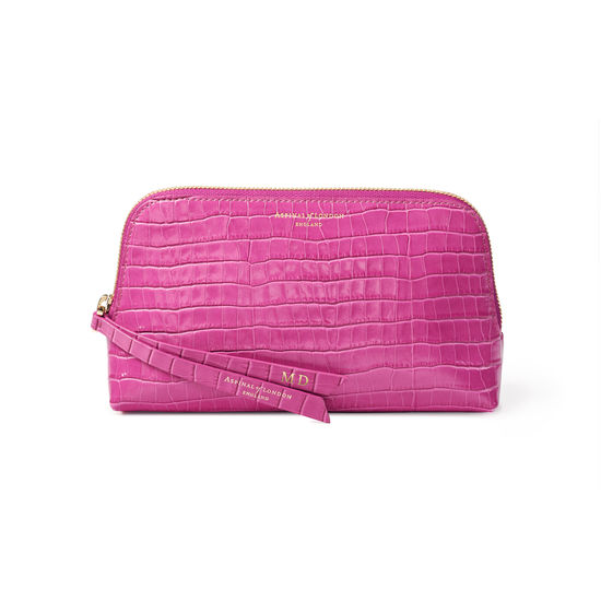 Small Essential Cosmetic Case in Deep Shine Hibiscus Small Croc from Aspinal of London