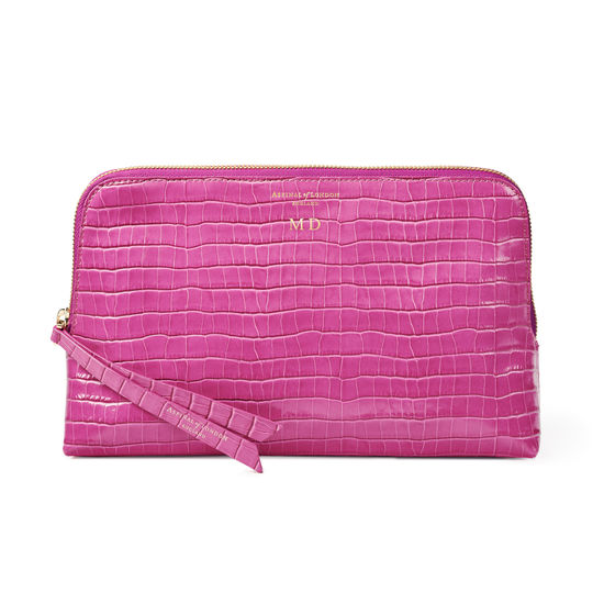 Large Essential Cosmetic Case in Deep Shine Hibiscus Small Croc from Aspinal of London