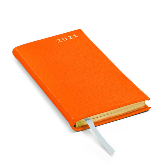 Slim Pocket Leather Diary in Bright Orange Saffiano from Aspinal of London