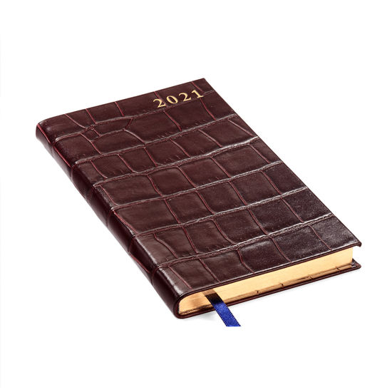 Slim Pocket Leather Diary in Deep Shine Amazon Brown Croc from Aspinal of London