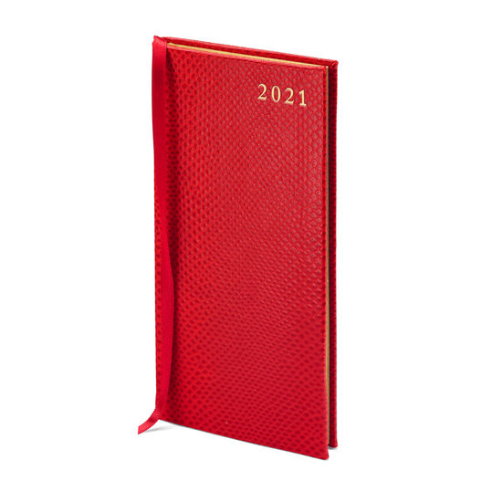 Slim Pocket Leather Diary in Berry Lizard from Aspinal of London