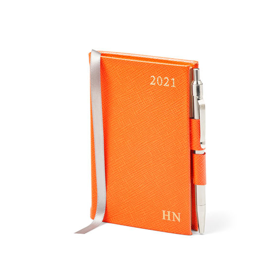 Mini Pocket Leather Diary with Pen in Bright Orange Saffiano from Aspinal of London