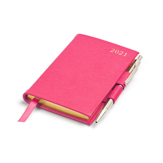 Mini Pocket Leather Diary with Pen in Bright Pink Saffiano from Aspinal of London