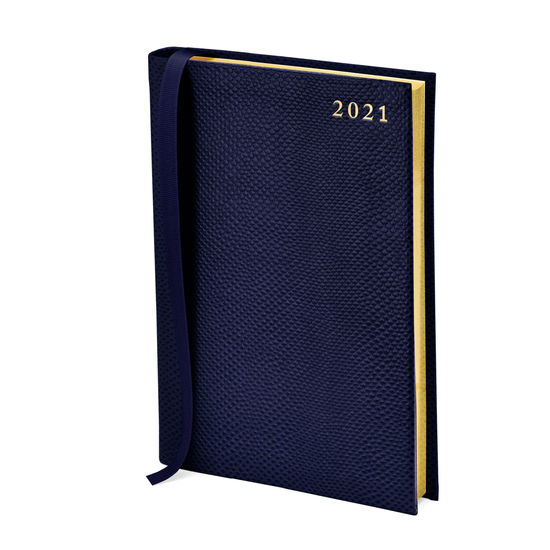 A5 Day to Page Leather Diary in Midnight Blue Lizard from Aspinal of London