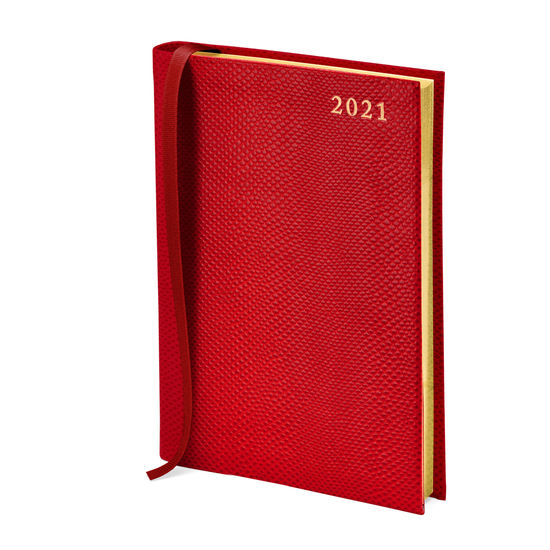 A5 Day to Page Leather Diary in Berry Lizard from Aspinal of London