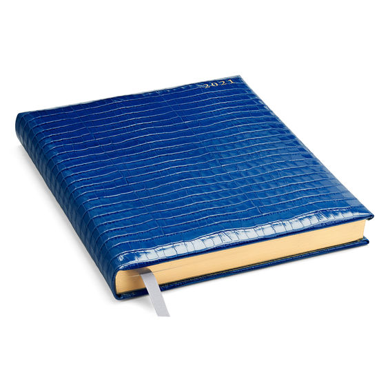 Quarto A4 Day to Page Leather Diary in Deep Shine Blue Small Croc from Aspinal of London