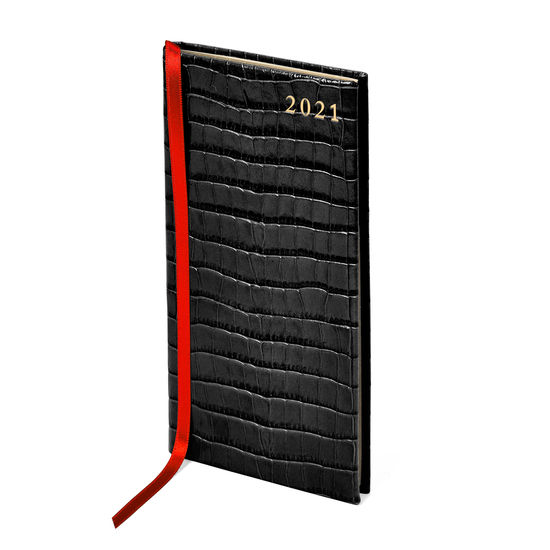 Slim Pocket Leather Diary in Deep Shine Black Small Croc from Aspinal of London