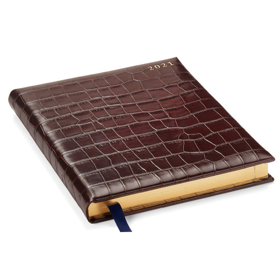 Quarto A4 Day to Page Leather Diary in Deep Shine Amazon Brown Croc from Aspinal of London