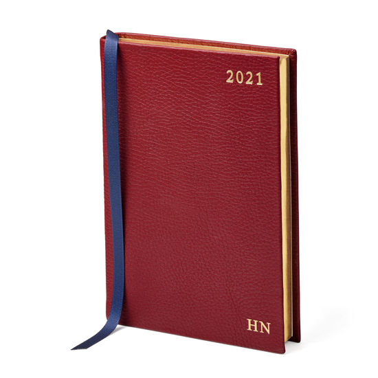 A5 Day to Page Leather Diary in Bordeaux Pebble from Aspinal of London