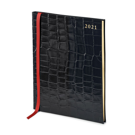 Quarto A4 Week to View Leather Diary in Deep Shine Black Croc from Aspinal of London