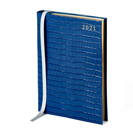A5 Day to Page Leather Diary in Blue Small Croc from Aspinal of London