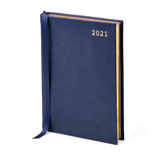 A6 Day to Page Leather Diary in Navy Pebble from Aspinal of London
