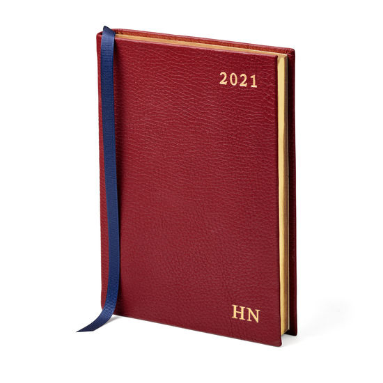 A6 Day to Page Leather Diary in Bordeaux Pebble from Aspinal of London
