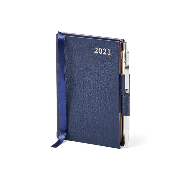 Mini Pocket Leather Diary with Pen in Navy Pebble from Aspinal of London