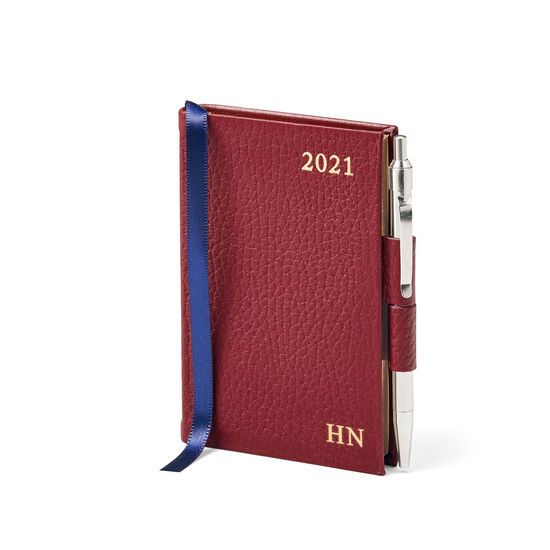 Mini Pocket Leather Diary with Pen in Bordeaux Pebble from Aspinal of London