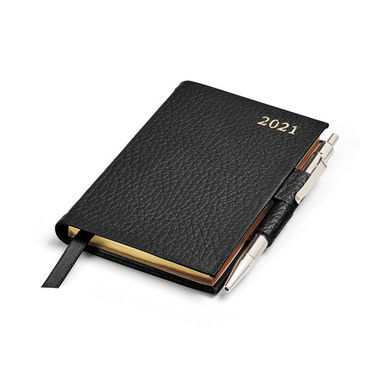 Mini Pocket Leather Diary with Pen in Black Pebble from Aspinal of London