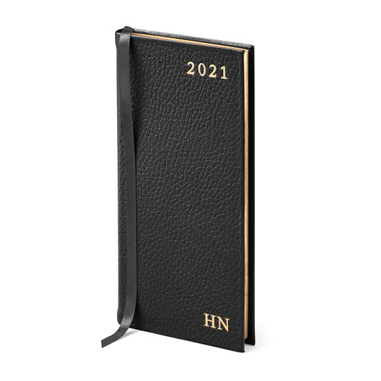Slim Pocket Leather Diary in Black Pebble from Aspinal of London