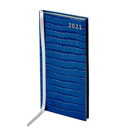 Slim Pocket Leather Diary in Deep Shine Blue Small Croc from Aspinal of London