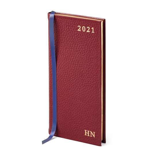 Slim Pocket Leather Diary in Bordeaux Pebble from Aspinal of London