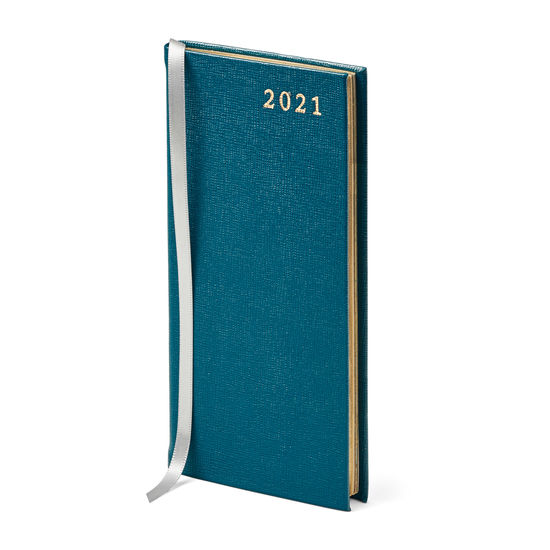 Slim Pocket Leather Diary in Pewter Blue Saffiano from Aspinal of London