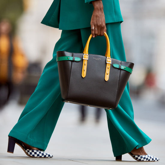 Midi Marylebone Tote in Black Pebble with Mustard & Emerald Croc Print from Aspinal of London