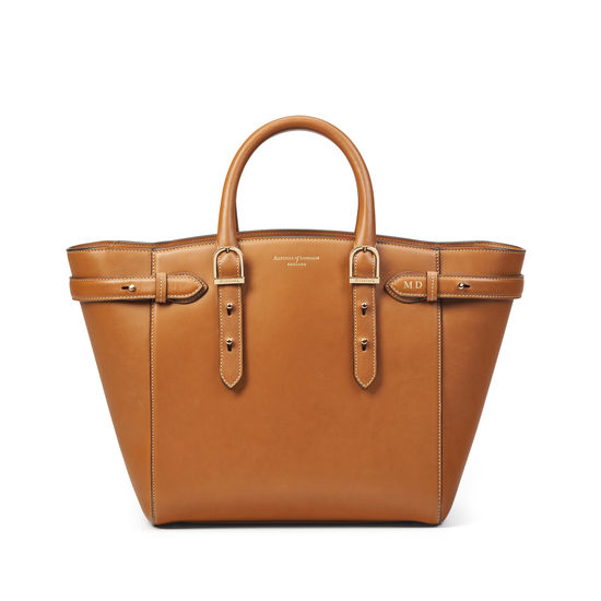 Midi Marylebone Tote in Smooth Tan with Leopard Print from Aspinal of London