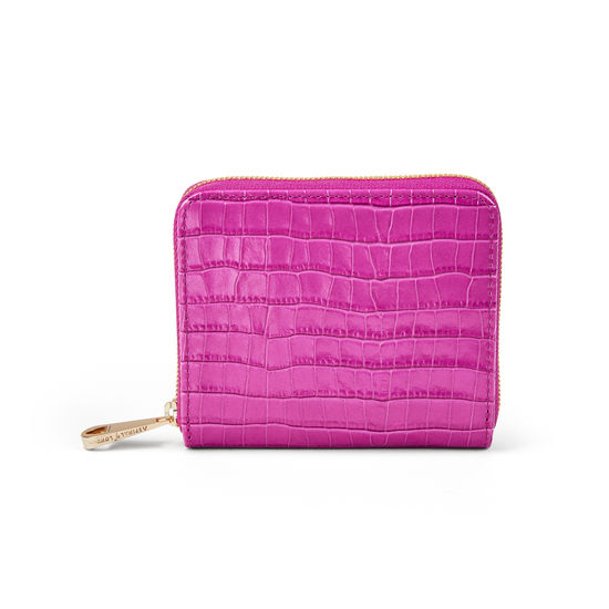 Slim Mini Continental Purse in Deep Shine Hibiscus Small Croc from Aspinal of London