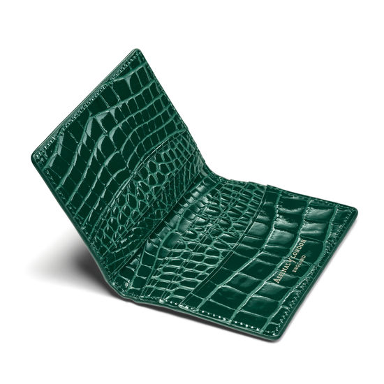 Double Fold Credit Card Holder in Evergreen Patent Croc from Aspinal of London