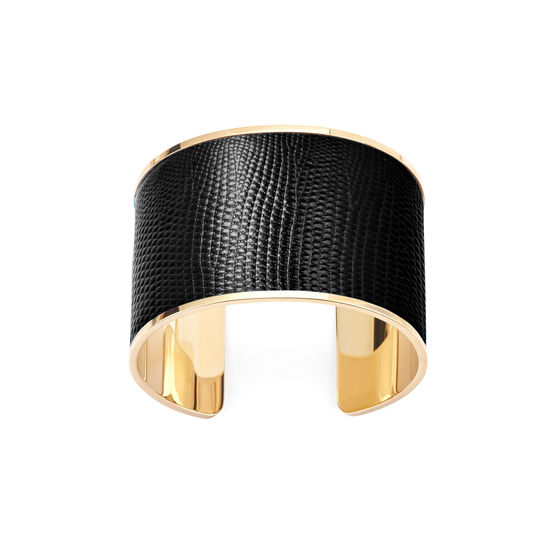 Cleopatra Cuff Bracelet in Black Silk Lizard from Aspinal of London