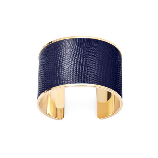 Cleopatra Cuff Bracelet in Midnight Blue Silk Lizard from Aspinal of London